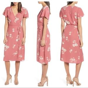 NWT Leith Pink Floral Midi Wrap Dress